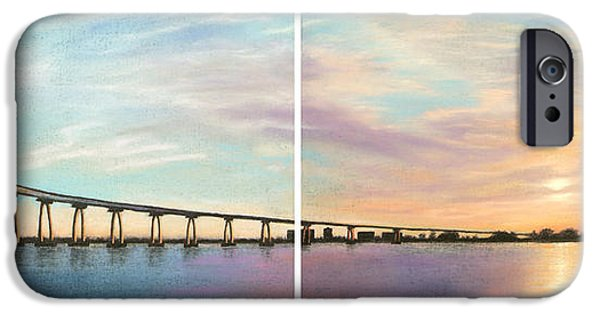 Sailing Pastels iPhone Cases - Coronado Bridge Sunset Diptych iPhone Case by Michael Heikkinen