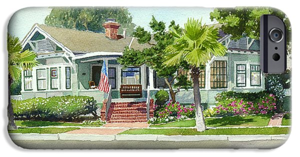 Commissions iPhone Cases - Coronado Craftsman House iPhone Case by Mary Helmreich