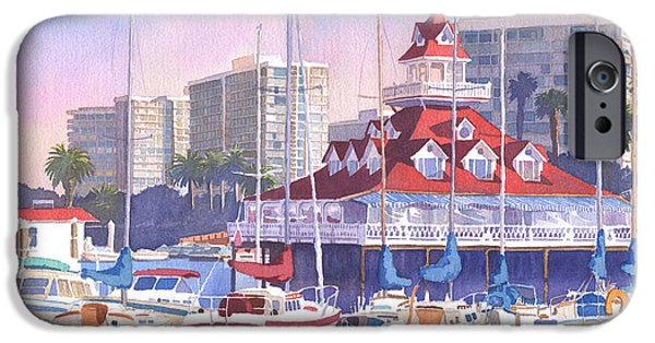 Boathouses iPhone Cases - Coronado Shores iPhone Case by Mary Helmreich
