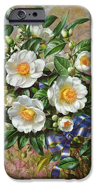 Bouquet iPhone Cases - Coronation Camelia From The Golden Jubilee Series, 2002oil On Canvas iPhone Case by Albert Williams