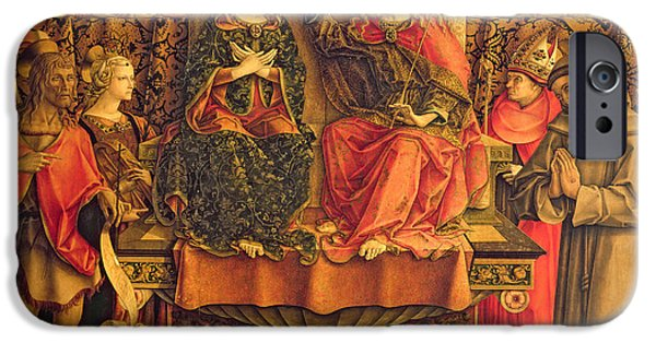 Baptist Paintings iPhone Cases - Coronation of the Virgin iPhone Case by Carlo Crivelli