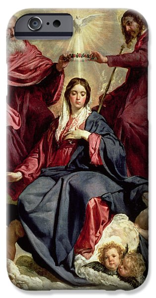 Annunciation iPhone Cases - Coronation of the Virgin iPhone Case by Diego Velazquez