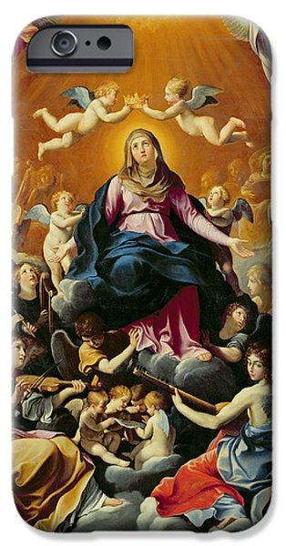 Playing Musical Instruments iPhone Cases - Coronation Of The Virgin Oil On Canvas iPhone Case by Guido Reni