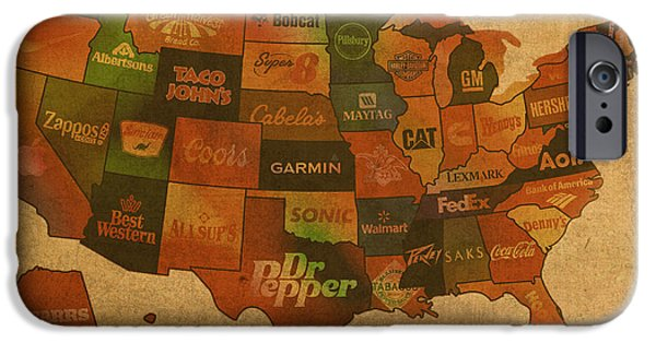 States Mixed Media iPhone Cases - Corporate America Map iPhone Case by Design Turnpike