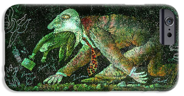 Merging Paintings iPhone Cases - Corporate Predatory iPhone Case by Leon Zernitsky