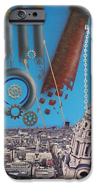 Airbrush Mixed Media iPhone Cases - Corporate Greed iPhone Case by Darren Robinson
