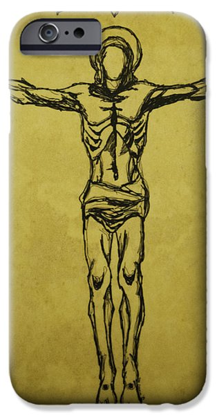 Jesus Drawings iPhone Cases - Corpus Christi and Dove iPhone Case by Daniel P Cronin