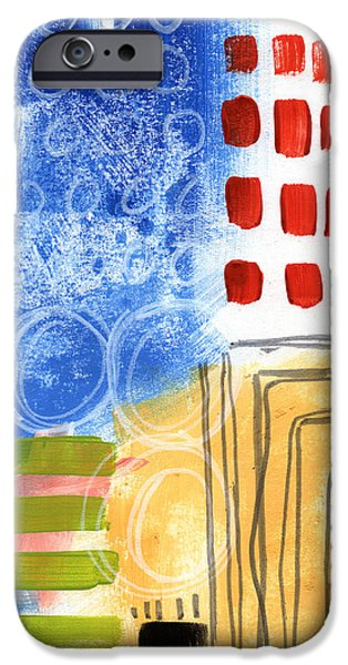 Contemporary Abstract iPhone Cases - Corridor- Colorful Contemporary Abstract Painting iPhone Case by Linda Woods