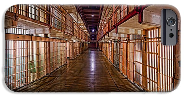 Punishment iPhone Cases - Corridor Of A Prison, Alcatraz Island iPhone Case by Panoramic Images