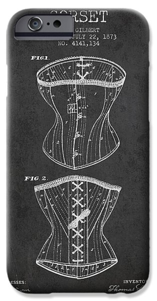 Corset iPhone Cases - Corset patent from 1873 - Dark iPhone Case by Aged Pixel