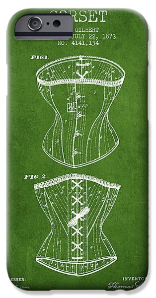 Corset iPhone Cases - Corset patent from 1873 - Green iPhone Case by Aged Pixel