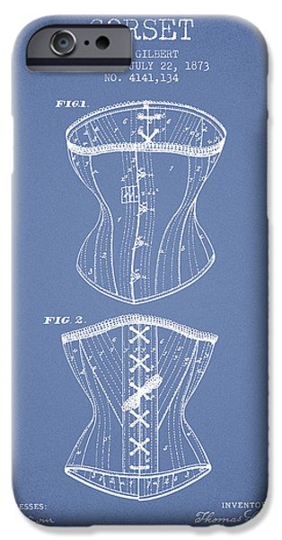 Corset iPhone Cases - Corset patent from 1873 - Light Blue iPhone Case by Aged Pixel