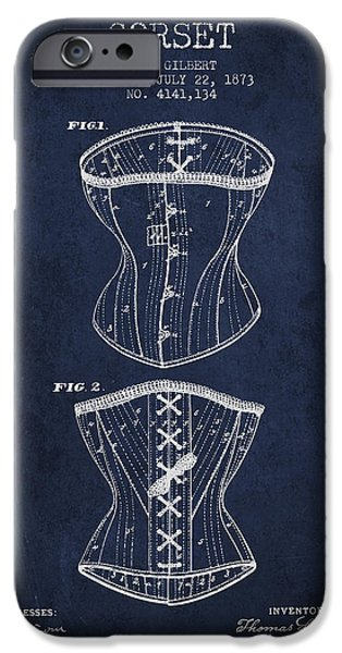 Corset iPhone Cases - Corset patent from 1873 - Navy Blue iPhone Case by Aged Pixel