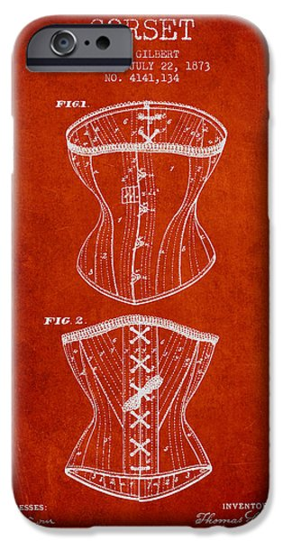 Corset iPhone Cases - Corset patent from 1873 - Red iPhone Case by Aged Pixel