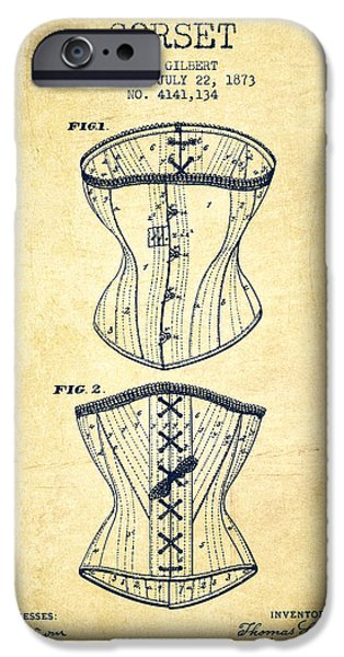 Corset iPhone Cases - Corset patent from 1873 - Vintage iPhone Case by Aged Pixel