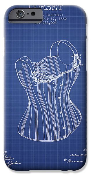 Corset iPhone Cases - Corset patent from 1882 - Blueprint iPhone Case by Aged Pixel