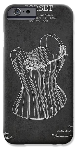 Corset iPhone Cases - Corset patent from 1882 - Dark iPhone Case by Aged Pixel