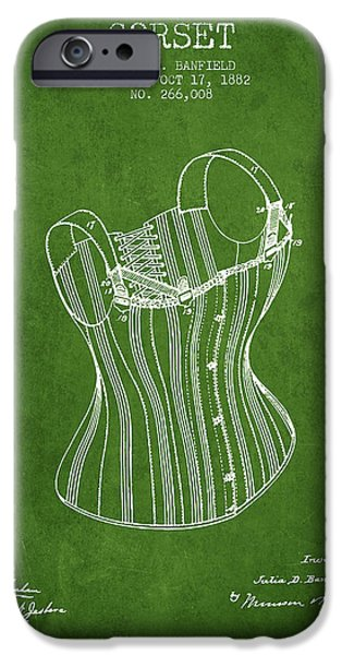 Corset iPhone Cases - Corset patent from 1882 - Green iPhone Case by Aged Pixel
