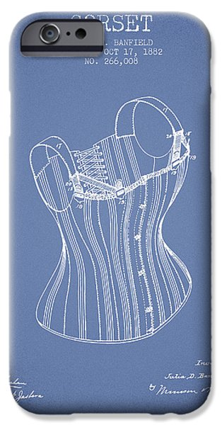Corset iPhone Cases - Corset patent from 1882 - Light Blue iPhone Case by Aged Pixel