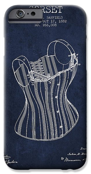 Corset iPhone Cases - Corset patent from 1882 - Navy Blue iPhone Case by Aged Pixel
