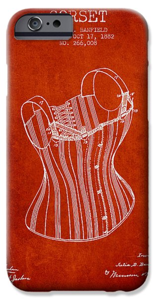 Corset iPhone Cases - Corset patent from 1882 - Red iPhone Case by Aged Pixel