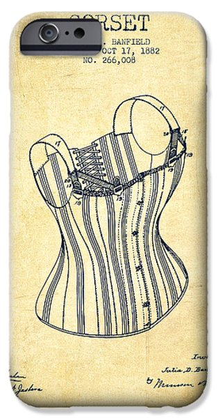 Corset iPhone Cases - Corset patent from 1882 - Vintage iPhone Case by Aged Pixel