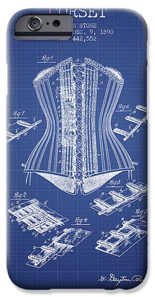 Corset iPhone Cases - Corset patent from 1890 - Blueprint iPhone Case by Aged Pixel
