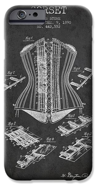 Corset iPhone Cases - Corset patent from 1890 - Dark iPhone Case by Aged Pixel
