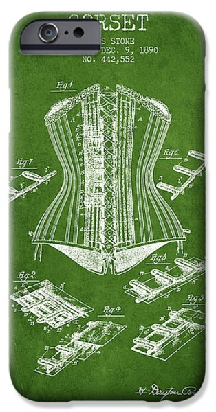 Corset iPhone Cases - Corset patent from 1890 - Green iPhone Case by Aged Pixel