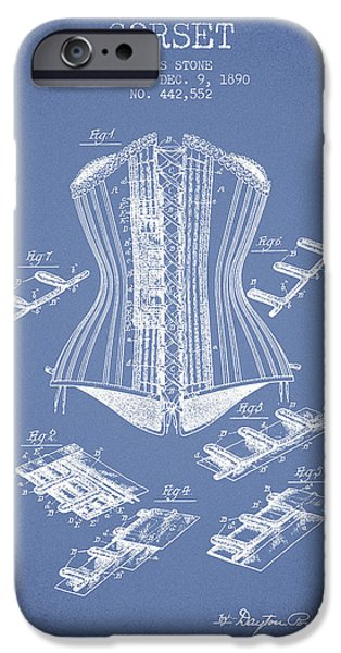 Corset iPhone Cases - Corset patent from 1890 - Light Blue iPhone Case by Aged Pixel