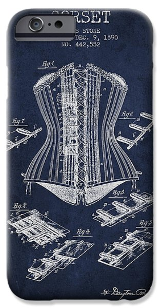 Corset iPhone Cases - Corset patent from 1890 - Navy Blue iPhone Case by Aged Pixel
