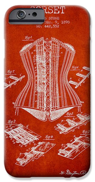 Corset iPhone Cases - Corset patent from 1890 - Red iPhone Case by Aged Pixel