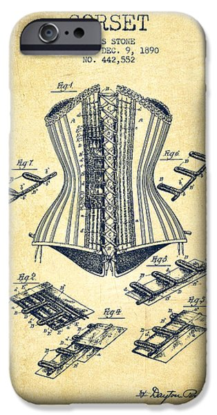 Corset iPhone Cases - Corset patent from 1890 - Vintage iPhone Case by Aged Pixel