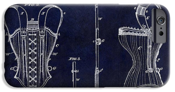 Corset iPhone Cases - 1874 Corsets Patent Blue iPhone Case by Jon Neidert