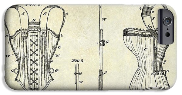 Corset iPhone Cases - Corsets Patent 1874 iPhone Case by Jon Neidert