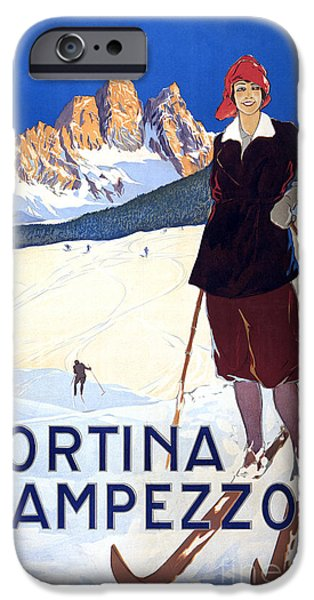 Skiing Posters Paintings iPhone Cases - Cortina dAmpezzo - travel poster for ENIT - 1920 iPhone Case by Pablo Romero