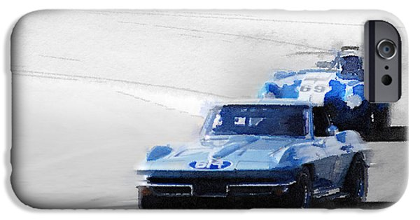 Old Cars iPhone Cases - Corvette and AC Cobra Shelby Watercolor iPhone Case by Naxart Studio