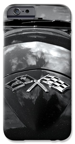Old Cars iPhone Cases - Corvette in Black and White iPhone Case by Bill Gallagher