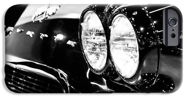Old Photos iPhone Cases - Corvette Picture - Black and White C1 First Generation iPhone Case by Paul Velgos