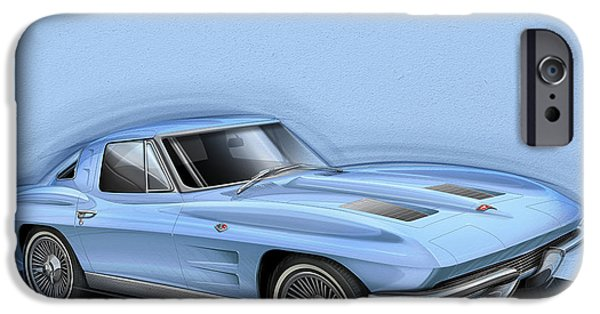 Sting Ray iPhone Cases - Corvette Sting Ray 1963 light blue iPhone Case by Etienne Carignan
