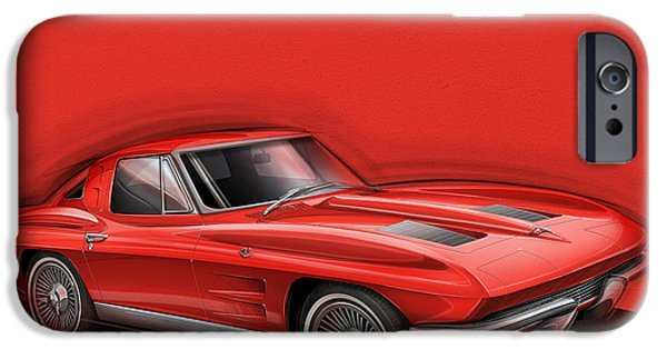 Sting Ray iPhone Cases - Corvette Sting Ray 1963 red iPhone Case by Etienne Carignan