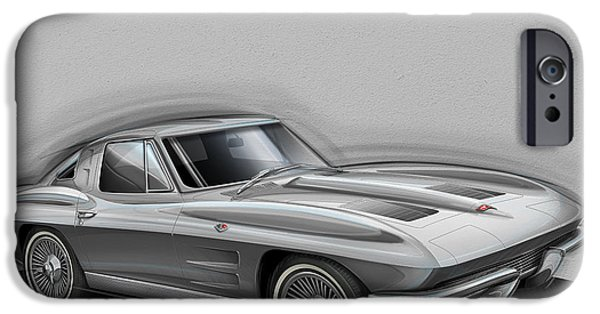 Sting Ray iPhone Cases - Corvette Sting Ray 1963 silver iPhone Case by Etienne Carignan
