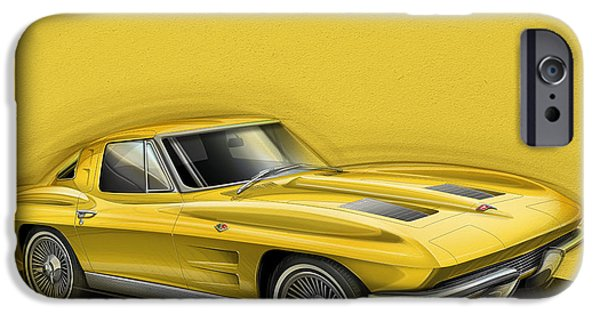 Sting Ray iPhone Cases - Corvette Sting Ray 1963 yellow iPhone Case by Etienne Carignan