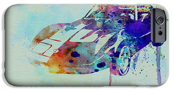 Automotive Drawings iPhone Cases - Corvette watercolor iPhone Case by Naxart Studio