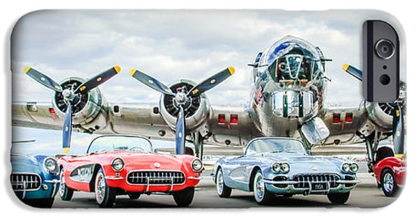 Automotive Photographer iPhone Cases - Corvettes with B17 Bomber iPhone Case by Jill Reger