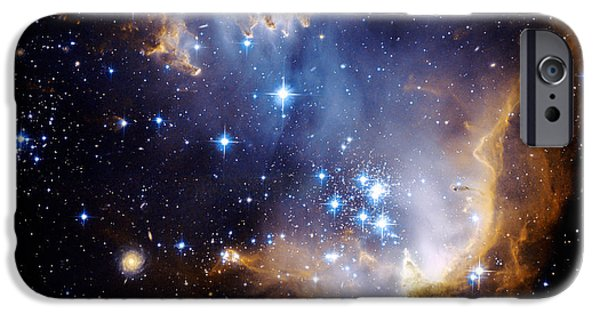 Galactic Paintings iPhone Cases - Cosmic Cloud  NGC602 iPhone Case by Celestial Images
