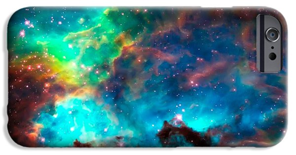 Hubble Telescope Images iPhone Cases - Cosmic Cradle 2 Star Cluster NGC 2074 iPhone Case by The  Vault - Jennifer Rondinelli Reilly