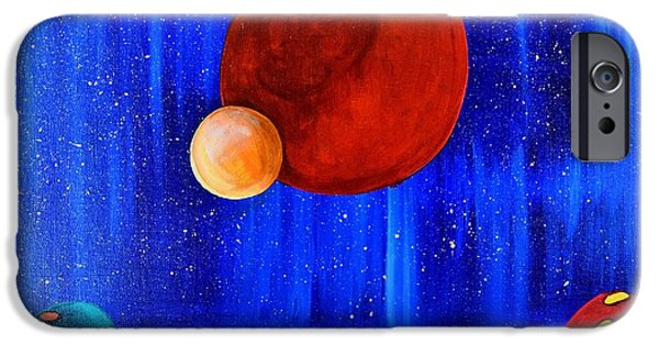 Outer Space Paintings iPhone Cases - Cosmic Gathering iPhone Case by Blanca Rosa