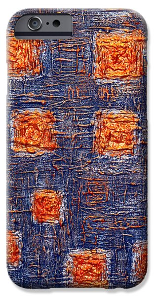 Circuit Paintings iPhone Cases - Cosmic Motherboard iPhone Case by Raf Podowski