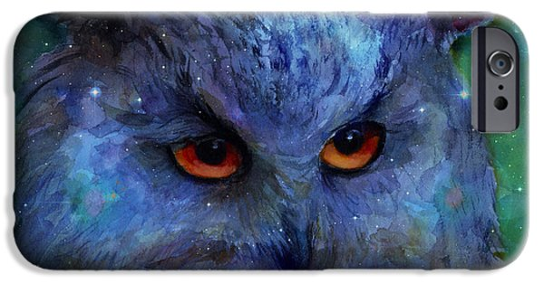 Austin Artist Digital Art iPhone Cases - Cosmic Owl painting iPhone Case by Svetlana Novikova